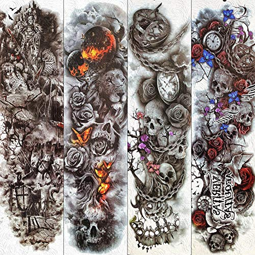 Kostüm Festival Fire - Temporäre Tattoos Aufkleber Death Tree Schädel Body Art Temporäre Tattoos Wasserdichte Fire Rose Tattoos Für Männer Frauen 3D Full Arm Bein Fake Tattoo Aufkleber