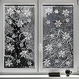 Kompanion Set da 100 Pezzi Vetrofanie Adesivi di Natale a Forma di Fiocco di Neve, Decora la tue Finestre con gli Adesivi a Tema Natalizio Invernale