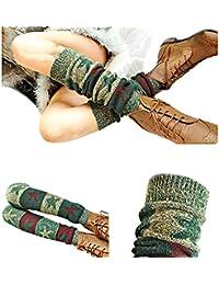 Niña Mujeres Mujer larga calientes botas Calcetines, tukis puertas Invierno Bohemia. verdicken queremos tejer de mujer calentadores (para Botines Booties verde oscuro