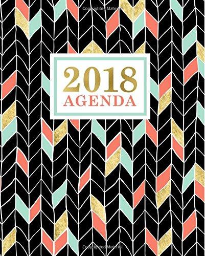 Agenda: 2018 Agenda Semainier : 19x23cm : Doré, corail et chevrons vert menthe