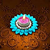 Prime Exquisite Floating Diya Diwali Special Traditional Gift Hand Crafted Light Festive Home Decor Crystal Floating Diya With Tealight Candle Holder 1 LED Light + 1 Tealight Wax Candle