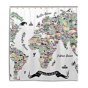 jstel Decor cortina de ducha mapa del mundo de viaje Póster Las Ciudades Y Turismo ATT patrón impresión 100% poliéster 66x 72pulgadas para hogar baño decorativo ducha baño cortinas con ganchos de plástico
