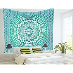 Aakriti Gallery Tapestry Queen Ombre Gift Hippie Tapestries Mandala Bohemian Psychedelic Intricate Indian Bedspread 92x82 Inches (Green)