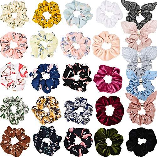 26 Stück Damen Haargummis Chiffon Blumen Haargummi Haargummis Elastische Bunny Ohr Haarband Samt Haarschleife für Damen und Mädchen