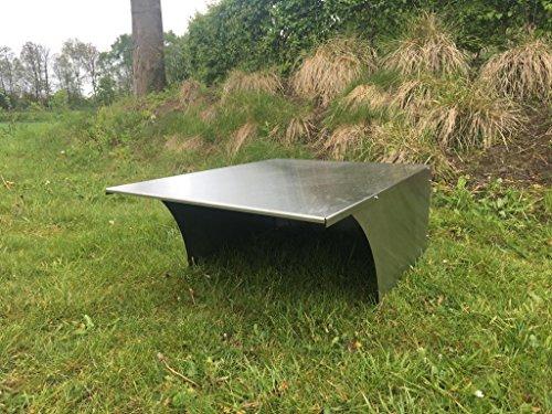 BBT@ Metall-Garage für Rasenmähroboter Edelstahl / + Montage-Material / Tiefe: 90 cm - Breite: 65 cm - Höhe: 34 cm / Bester Schutz für Ihren Roboter vor Wind Wetter UV-Strahlung