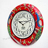 [Sponsored]Vintage Clock Wooden Hand-Painted Peacock Design Red Clock / 1 Year Warranty / Non-ticking (Silent Clock) / Comes With Perfect Gift Packing