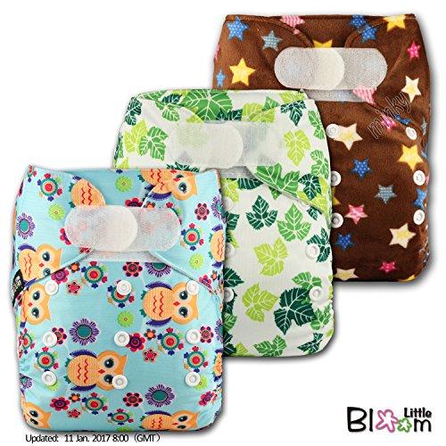LittleBloom Lot de 3 couches réutilisables en tissu Fermeture par bande velcro