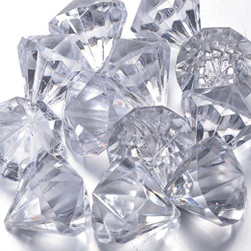funlavie Acryl Diamant Kristalle zum Aufhängen Ornament für Weihnachtsbaum, Party, Hochzeit Tisch Vase Decor, acryl, 30x27mm(Clear), 60 PCS