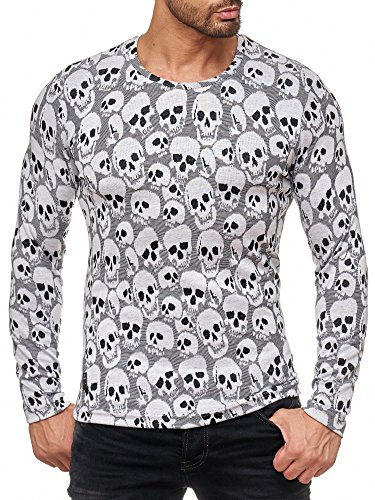Skull Long Sleeve Tee (Red Bridge Herren Longsleeve Pullover All Over Skull Totenkopf-Muster M2109 RBC Redbridge (Grau, L))