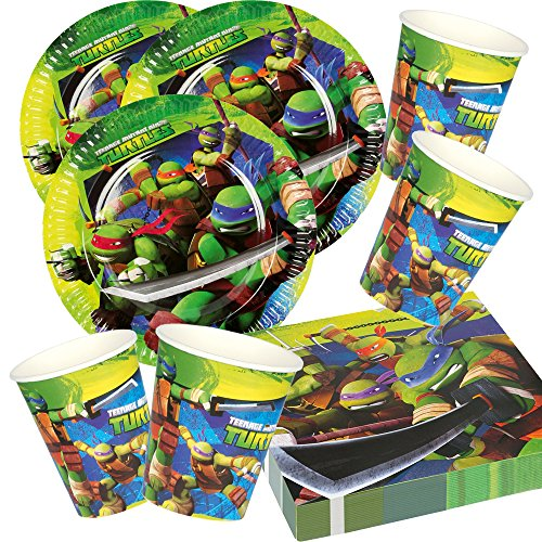 52-teiliges Party-Set Teenage Mutant Ninja Turtle - Teller Becher Servietten für 16 Kinder