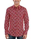 70er Blumen Retro Muster Hemd rot XL