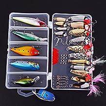 Aorace 41pcs Pesca Lures Kits Incluyendo Minnow Popper Crank cebo VIB Cucharas de Metal Hard Baits Pesca Treble Hooks Spinner Baits Salmón Bass y otros artes de pesca con libre Tackle Box