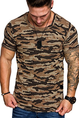 Amaci&Sons Oversize Camouflage Herren Shirt Sweatshirt Crew-Neck 6012 Camouflage Beige M - 2