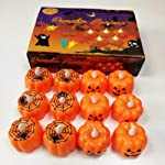 Halloween Pumpkin Light LED Spider Light Flameless Candle Electronic Candles for Halloween Party Home Decorations 12 Pcs