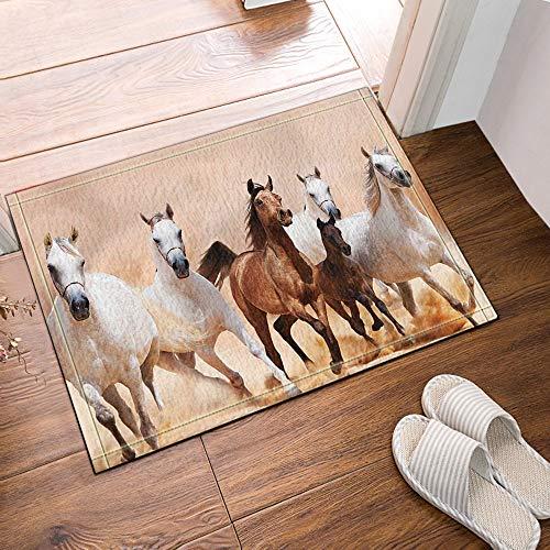 GAOFENFFR Gelbe Wüste läuft 4 weiße Pferde und 1 braunes Pferd wasserdichte rutschfeste Keine Chemikalienfußmatten