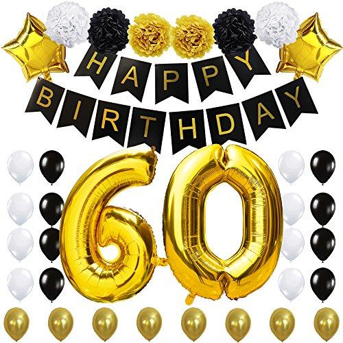 KUNGYO 60 Decoración para Fiestas de Cumpleaños Happy Birthday Pancarta Negro 40 Pulgadas Globo de Oro 60 Colgantes Flores de Papel Globos de Estrellas Látex
