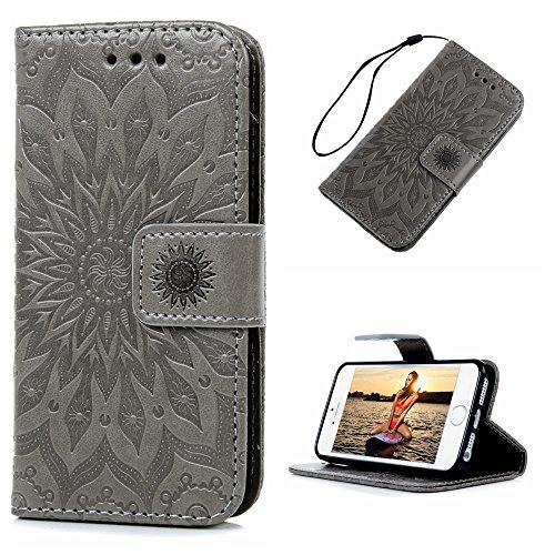 MAXFE.CO Lederhülle Tasche Case für iPhone 5 SE Hülle PU + TPU Schutz Etui Schale Backcover Flip Cover 3D im Bookstyle mit Standfunktion Kartenslots-Traumfänger 1 Grau