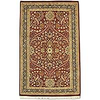 Tradizionale a mano Kashan tappeto persiano, lana, rosso scuro, 92x
