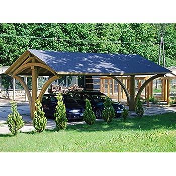 Spacieux Carport en Bois Recouvert de Bardeaux Bituminueux Noir ou Vert - Mesures: 585 cm x 600 cm x Hauteur 384 cm