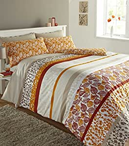 LUXURY PRINTED KING BED DUVET QUILT COVER BEDDING SET FOLIAGE TERRACOTTA ORANGE