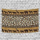 ALAZA Tapisserie Wandbehang Wurf Polyester Inneneinrichtungen, Afrikanische Tiere Tribal Stripe Wandschmuck