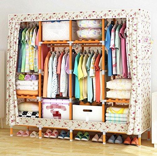 Tragbare Kleiderschrank Lagerung Massivholz Oxford Tuch Closet Organizer Lagerung mit Abdeckung Feuchtigkeits und wasserdicht Große kombinierte Garderobe, G, 68 \'\' * 49 \'\'