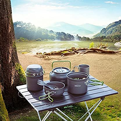 Overmont Ultralight Camping Cookware Set Outdoor Cooking Mess Kit Pots Pans Camp Kettle Portable for Backpacking Hiking Trekking Picnic Fishing Mountaineering 6