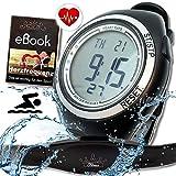 bestbeans Heartbeat Herzfrequenz-messung Sport Puls-Uhr mit Brustgurt & Fitnesstudios ANT Trainingsbereich, Kalorienverbrauch Fettverbrennung Sportuhr Wasserdicht (Schwimmen) (Pro)