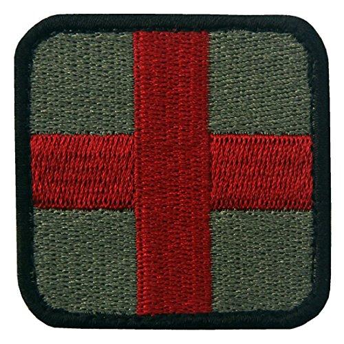 Sanitäter Kostüm Armee - EmbTao Taktisch Medic Kreuz Armee-Moral ACU Bestickter Aufnäher mit Klettverschluss, Olive und Rot