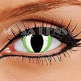 """Lentilles De Contact De Couleur Fantaisie Crazy Lens Cosplay """"MYSA LENS®"""" Yeux De Chat / Oeil De Dragon Vert / Oeil De Serpent / Green Dragon 12 Mois sans correction"""