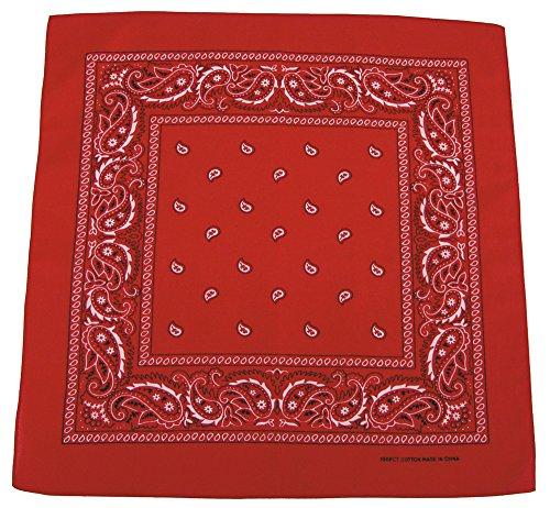 Rot Jagd Kostüm - Bandana Tuch rot Biker Kopftuch 100% Baumwolle rotes Halstuch