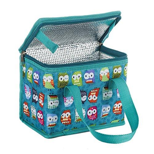 TEAMOOK Kleine Kühltasche Lunch Tasche Isoliertasche zur Arbeit und Schule gehen 4 Liter, 22 x 17 x 12 cm,Grüne Eule
