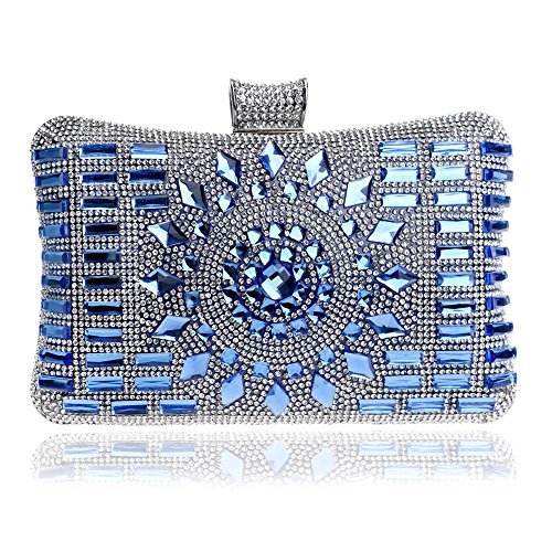Handtaschen Damen Diamanten Luxus Bankett Kleid Brauttasche Fine Dinner Package Blue