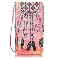 Galaxy J7 2016 Case Leather [Free USB Charging Cable], ESSTORE-EU Cartoon Pattern PU Leather Stand Function with Card Slot Holder Wallet Book Design Case for Samsung Galaxy J7 2016, Dreamcatcher-8#