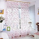 Amazingdeal365 BlumenrebenTürschal und Vorhang Flugfensterdeko Voile Gardinen Schal 2 m *1m Set für Tür Schlafzimmer Wohnzimmer Kinderzimmer Balkon Terasse Spielzimmer (Rot)