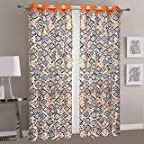 Dekor World Multi Orange Cotton Eyelet Curtain (Pack of 2)