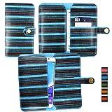 Emartbuy Blu Annata Strisce PU Pelle Custodia Case Cover Sleeve (Misura 5XL) con Chiusura a Bottone Magnetico Adatta Per aPhone E6 5 Inch Smartphone
