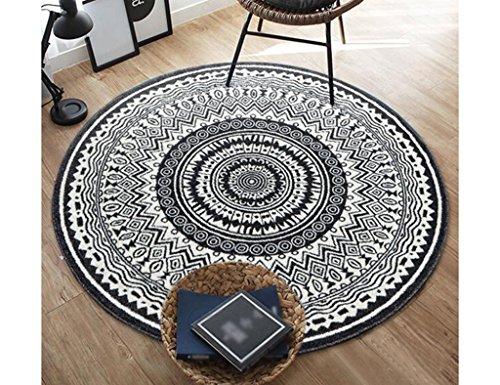 MATS LIJIANFENG Runder Schwarzweiss-Teppich, ethnisches Wohnzimmer-Sofa-Schlafzimmer-Bettdecke, Größe optional (Color : 160CM) -