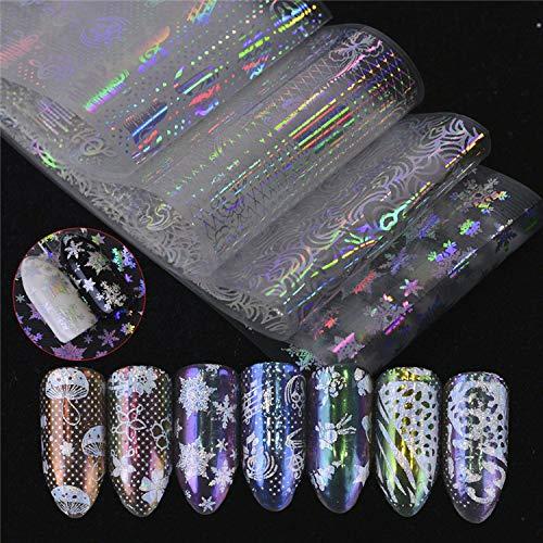 LCFCJK Nagel-Aufkleber Schneeflocke Nagel Dekoration Aufkleber DIY Dekoration Werkzeuge Kunst Design Wasserzeichen Nagel Aufkleber (16 Fotos)