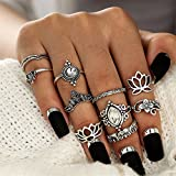 ODN 10Pcs Orientalisches Vintage Midi Ring Midiringe Set,Damen Mädchen Hollow Lotus Fingerring-Set
