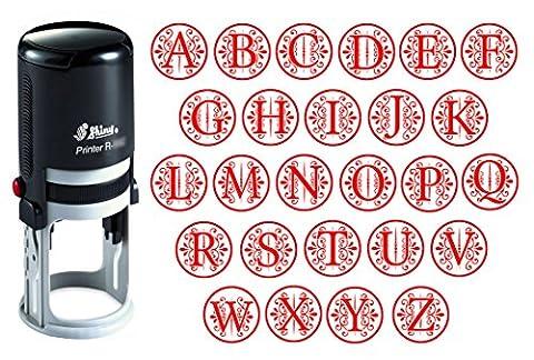 Benutzerdefinierte A-Z Alphabet Stamp in der roten Tinte Monogramm Runde Stempel Selbst Farbwerk Initial Stamp SHINY Mini Stamper 20 mm