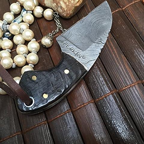 couteau de chasse en acier damas main - couteau de cou