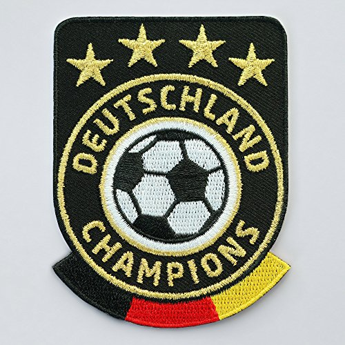 2 x Fussball Abzeichen gestickt 86 x 65 mm schwarz / Deutschland Champions Gold Stickerei / Aufbügler Aufnäher Sticker Patch / deutsch Fußball National Team Dress Trikot Flagge Fan Mannschaft Meister - Gestickte Leder-shorts