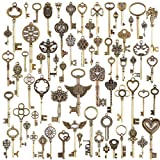 Outflower. Lot de 69 Clés Couleur Bronze Style Vintage et Ancien Pour Création de Bijoux Retro Breloque Main DIY Pendentif Accessoires...