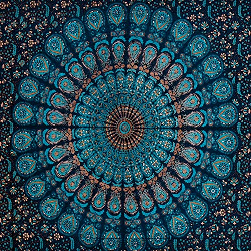 CoreLife Wandteppich, groß, Wandteppich, Wandteppich, Dekoration für Schlafzimmer, Wohnzimmer, Schlafsaal - Baumwolle Large Teal Mandala Paisley