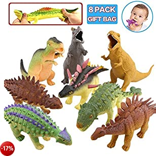 Giocattolo Dinosauro, 8 Pollici Dinosauro Set(8 Pacchi), Materiale Compatibile con Alimento TPR Super Elastico, con Sacchetto di Regalo e Carta di Risorse di Apprendimento, Mondo Zoo Figure Realistiche Dinosauro Squishy Giocattolo per Rgazzi Bambini Bombo