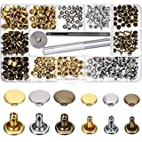 Picture Of 180 Set 2 Sizes Leather Rivets Double Cap Rivet Tubular Metal Studs with 3 Pieces Fixing Tool for DIY Leather Craft, Rivets Replacement, 3 Colors (Gold, Silver and Bronze)