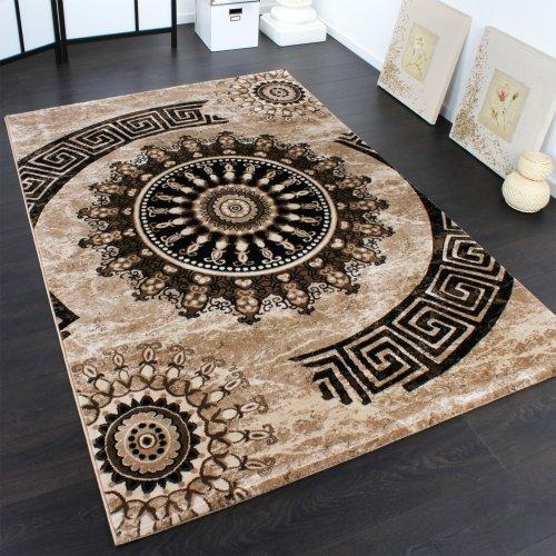 Alfombra Clásica Con Ornamentos Circulares Estampada En Marrón-Beis-Negro Moteado, Grösse:80x150 cm