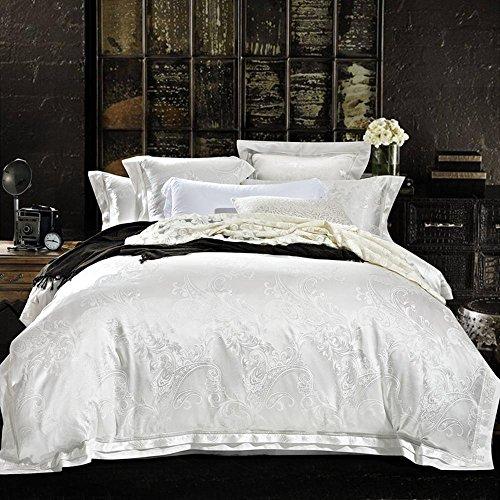 BEIZI Satin Jacquard Bettwäsche-Sets umfassen: 1 Bettbezug 1 Flache Blatt 2 Kissenbezüge,4 stücke königin Größe, 11