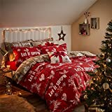 Weihnachten Let it snow Kränzen Herzen in Holzoptik rot taupe Single (Uni creme Spannbetttuch–91x 191cm + 25) 3-teiliges Bettwäsche-Set